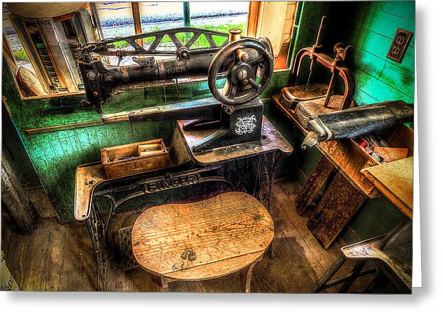 Shoe Repair Greeting Cards - Cobblers Sewing Machine Greeting Card by David Morefield