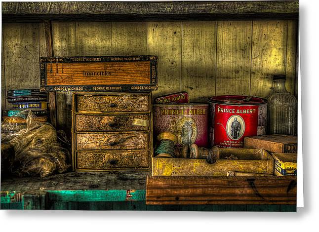 Shoe Repair Greeting Cards - Cobblers Tobacco Greeting Card by David Morefield