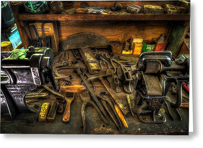 Shoe Repair Greeting Cards - Cobblers Workbench Greeting Card by David Morefield