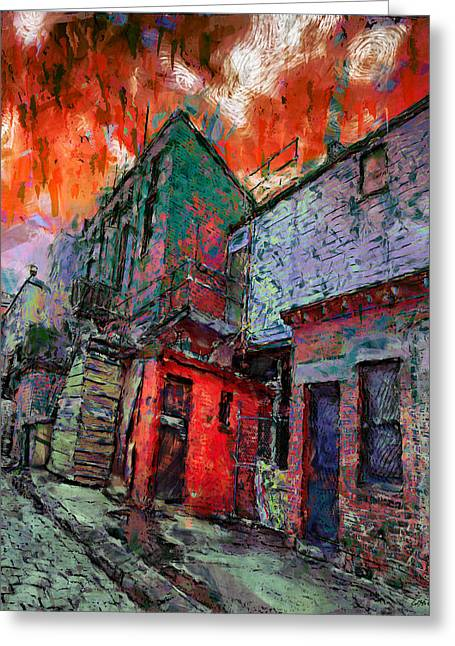 Weatherboard Greeting Cards - Cobblestone Alley Greeting Card by Carl Rolfe