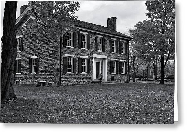 Michigan Farmhouse Greeting Cards - Cobblestone Farm in Fall-BW Greeting Card by Rachel Cohen