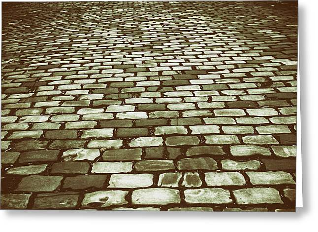 Ground Level Greeting Cards - Cobblestone Road Greeting Card by Mountain Dreams