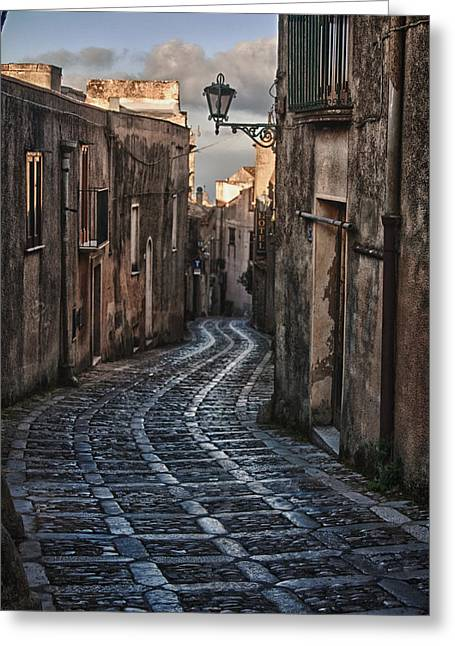 Erice Greeting Cards - Cobblestone Street Erice Morning Greeting Card by Sam Oppenheim