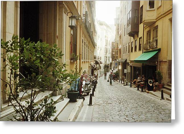 Istanbul Greeting Cards - Cobblestone Street In Istanbul, Turkey Greeting Card by Panoramic Images