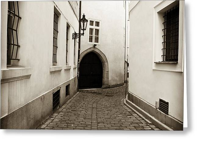 Cobblestone Walk Greeting Card by John Rizzuto
