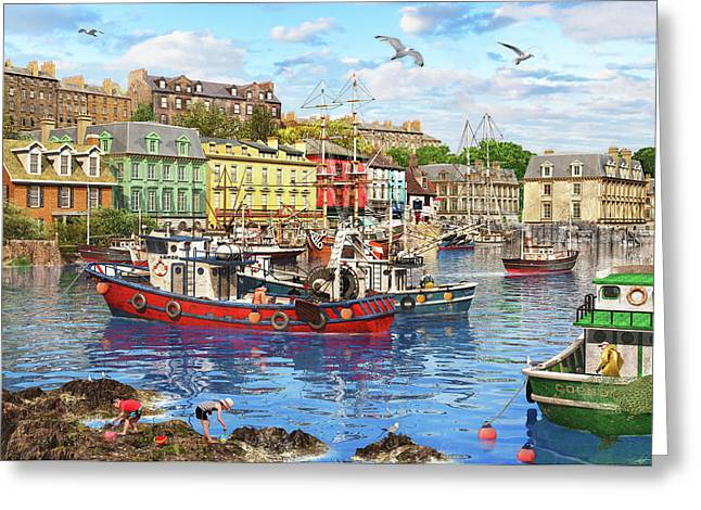 Cobh Harbour Greeting Card by Dominic Davison