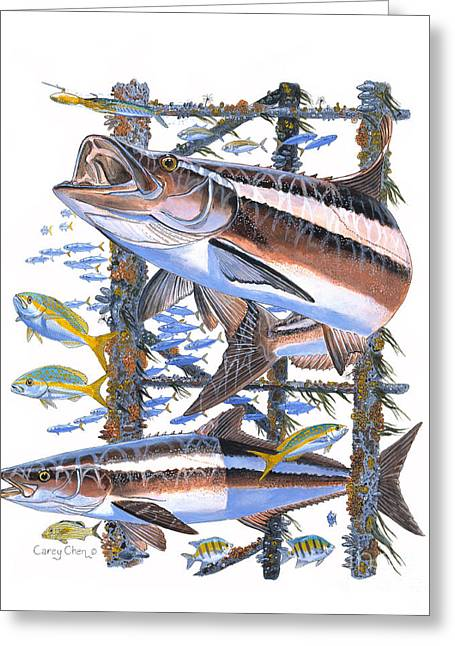 Jig Greeting Cards - Cobia hangout Greeting Card by Carey Chen