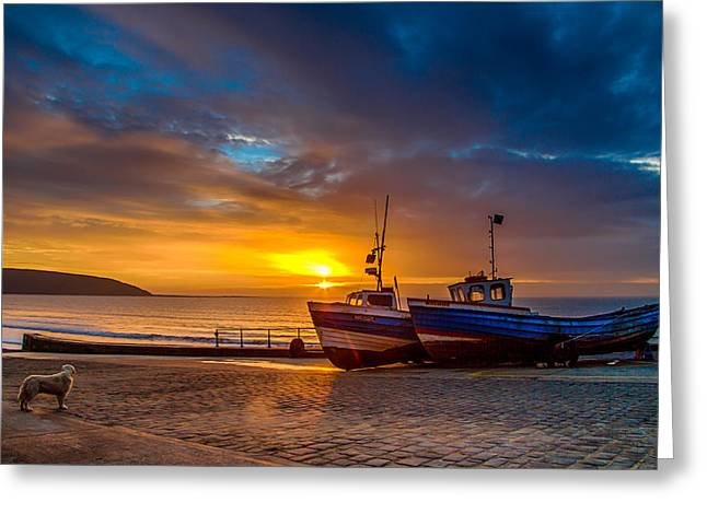 Fishing_boat Greeting Cards - Coble Landing Sunrise Greeting Card by Cliff Miller