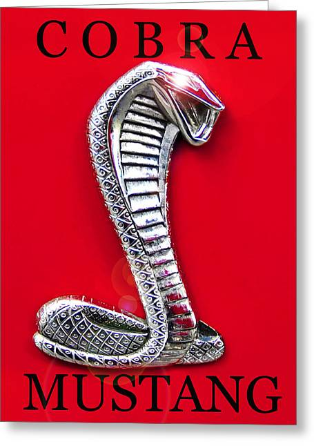 Cobra Art Greeting Cards - Cobra Mustang red work A Greeting Card by David Lee Thompson