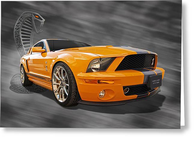 Yellow Cobra Greeting Cards - Cobra Power - Shelby GT500 Mustang Greeting Card by Gill Billington