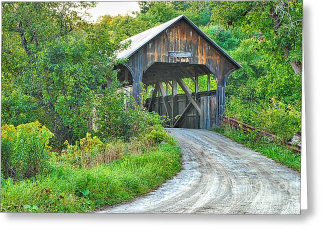 Old Roadway Greeting Cards - Coburn Covered Bridge Greeting Card by Mary Carol Story
