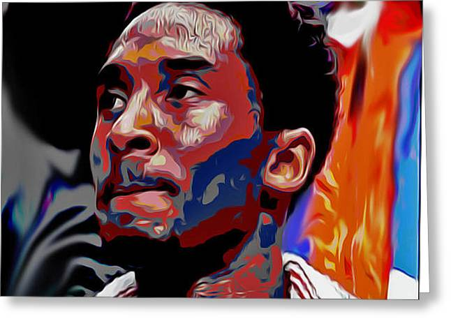 Bryant Paintings Greeting Cards - Kobe Greeting Card by Oscar Lester