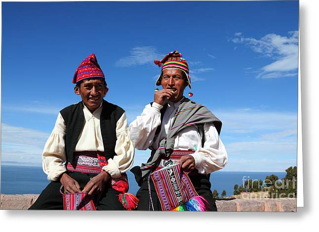 Custom Person Portrait Greeting Cards - Coca Break on Taquile Island Peru Greeting Card by James Brunker