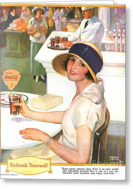 Soft Drawings Greeting Cards - Coca-cola 1920s Usa Greeting Card by The Advertising Archives