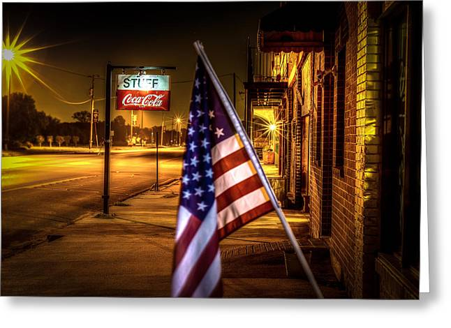 Small Towns Greeting Cards - Coca-Cola and America Greeting Card by David Morefield