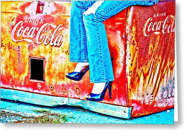 Coke Black Greeting Cards - Coca-Cola and Stiletto Heels Greeting Card by Toni Hopper