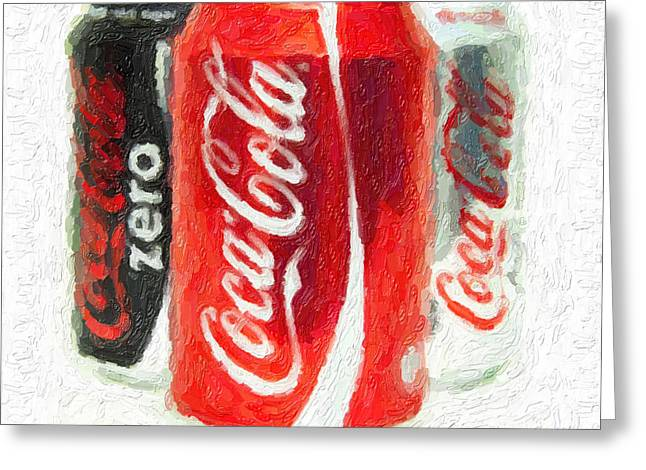 Pop Can Greeting Cards - Coca Cola Art impasto Greeting Card by Antony McAulay