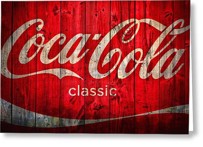 Barn Door Greeting Cards - Coca Cola Barn Greeting Card by Dan Sproul