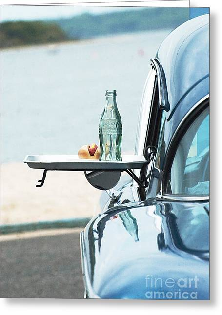 Wall Licensing Greeting Cards - Coca Cola and  American Car at Beach  Greeting Card by Anahi DeCanio - ArtyZen Studios