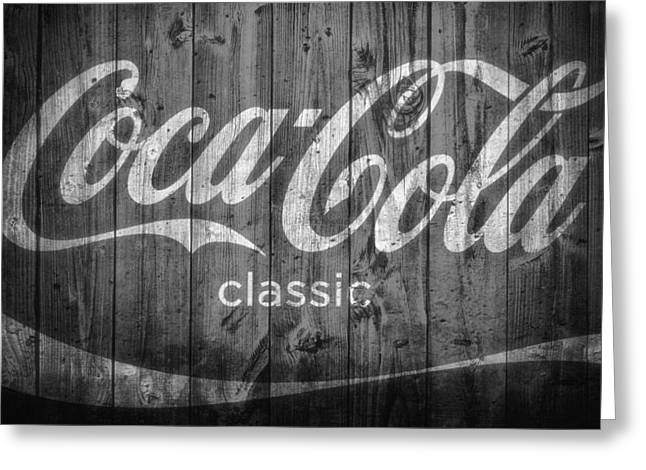 Classic Barn Greeting Cards - Coca Cola Black And White Greeting Card by Dan Sproul