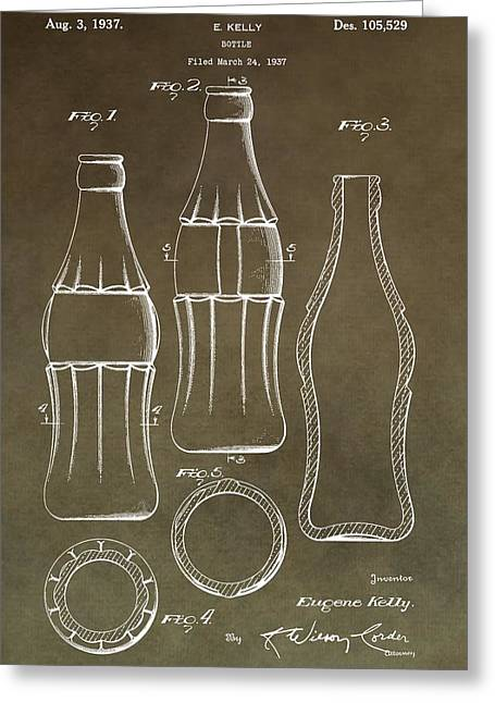 Bottle Cap Greeting Cards - Coca Cola Bottle Patent Greeting Card by Dan Sproul