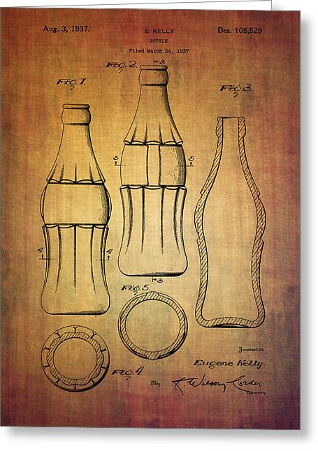 Kelly Mixed Media Greeting Cards - Coca cola bottle patent from 1937 Greeting Card by Eti Reid