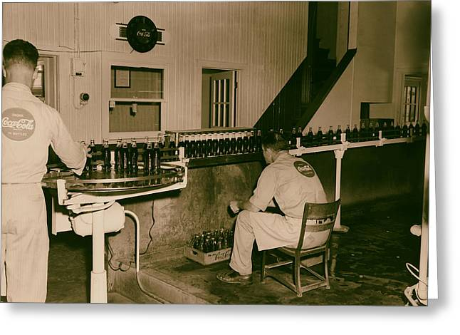 Bottle. Bottling Photographs Greeting Cards - Coca Cola Bottling Line 1950s Greeting Card by Mountain Dreams