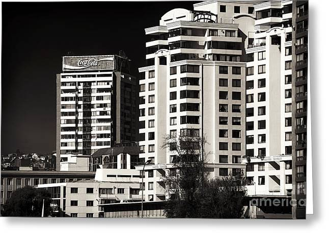 Vineyard Poster Greeting Cards - Coca Cola Building in Vina del Mar Greeting Card by John Rizzuto