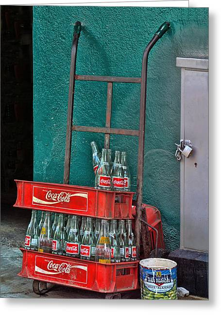 Coca Cola Cart And Bottles Greeting Card by Linda Phelps