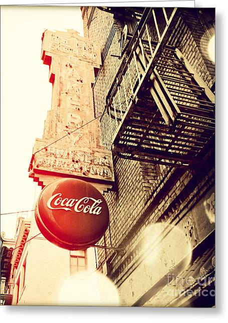 San Francisco Cali Greeting Cards - Coca Cola Greeting Card by Chris Andruskiewicz