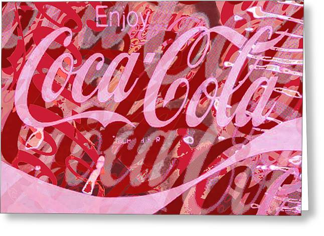 Coke Black Greeting Cards - Coca-Cola Collage Greeting Card by Tony Rubino