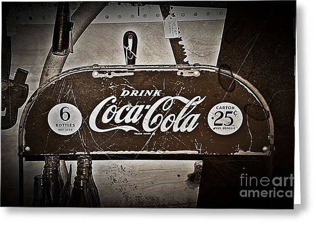 Coca Cola.coke-a-cola Greeting Cards - Coca Cola Display 5 Cents Greeting Card by JW Hanley