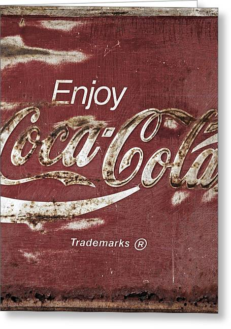 Closeup Coca Cola Sign Greeting Cards - Coca Cola Faded Sign Greeting Card by John Stephens