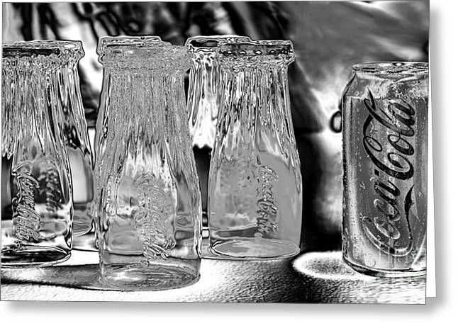 Coca-cola Glasses And Can - Liquid Chrome By Kaye Menner Greeting Card by Kaye Menner