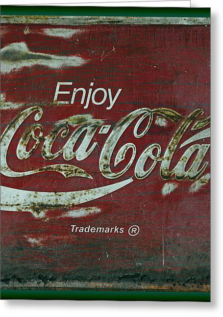 Closeup Coca Cola Sign Greeting Cards - Coca Cola Green Grunge Sign Greeting Card by John Stephens