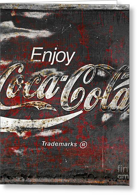 Closeup Greeting Cards - Coca Cola Grunge Sign Greeting Card by John Stephens