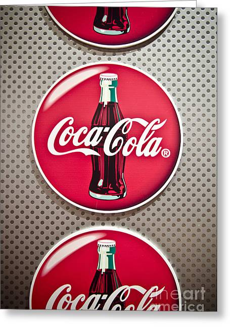 Bottle Cap Greeting Cards - Coca-Cola Greeting Card by Jessica Berlin