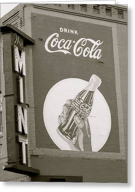 Coca-cola Mural Greeting Cards - Coca-Cola mural Greeting Card by Darlene Grubbs
