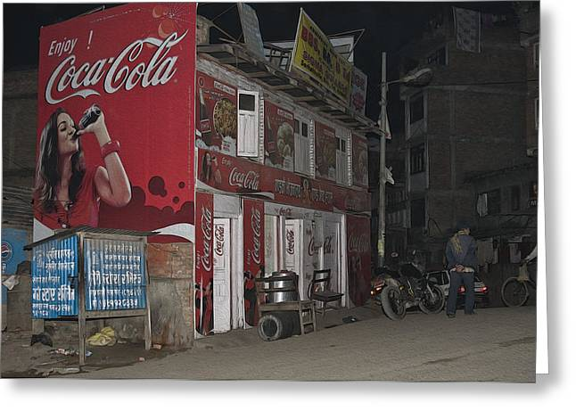 Coca Cola.coke-a-cola Greeting Cards - Coca Cola  Greeting Card by Nichon Thorstrom