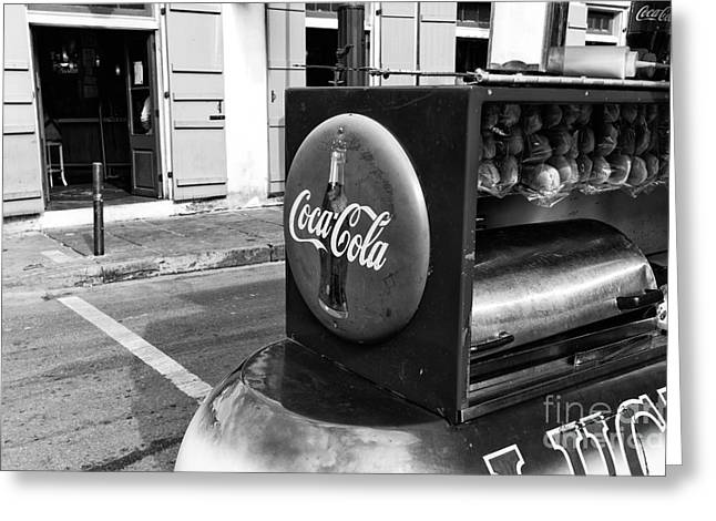 Hot Dog Stand Greeting Cards - Coca Cola on Bourbon Street mono Greeting Card by John Rizzuto