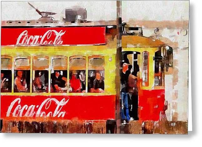 Tram Red Greeting Cards - Coca Cola on Wheels Greeting Card by Mary Machare