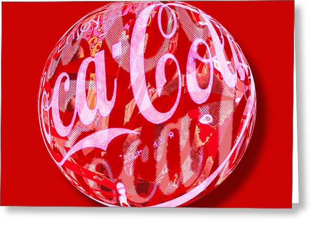 Warp Greeting Cards - Coca-Cola Orb Greeting Card by Tony Rubino