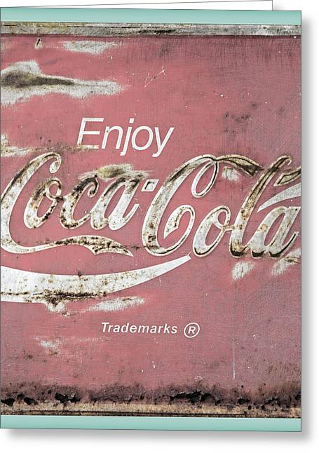 Coca Cola Pastel Grunge Sign Greeting Card by John Stephens