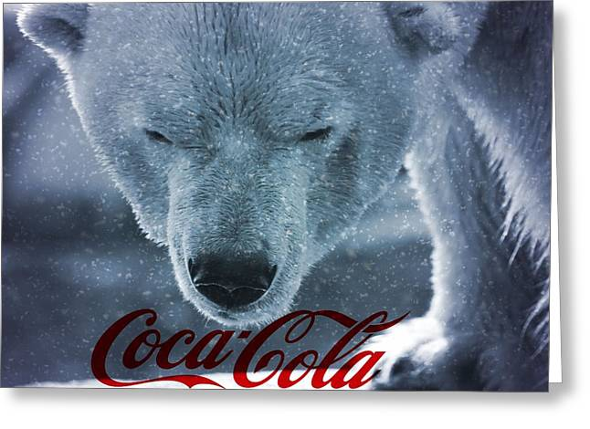 Commercial Photography Mixed Media Greeting Cards - Coca Cola Polar Bear Greeting Card by Dan Sproul