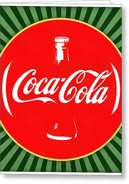 Plastic Bottle Greeting Cards - Coca Cola Pop Art  Greeting Card by Dan Sproul
