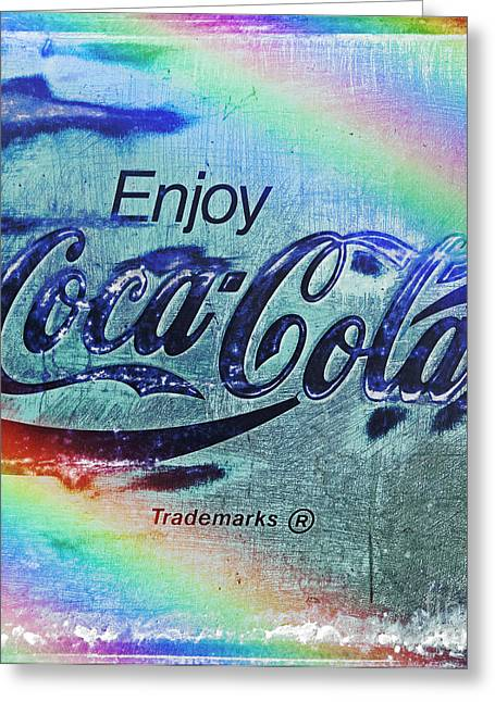 Closeup Coca Cola Sign Greeting Cards - Coca Cola Rainbow Greeting Card by John Stephens