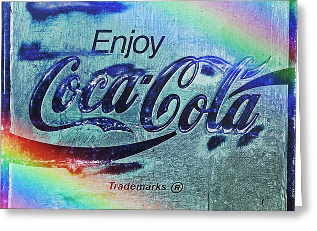 Weathered Coca Cola Sign Greeting Cards - Coca Cola Rainbow Greeting Card by John Stephens