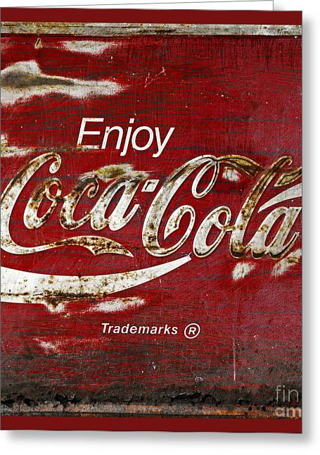 Closeup Coca Cola Sign Greeting Cards - Coca Cola Red Grunge Sign Greeting Card by John Stephens