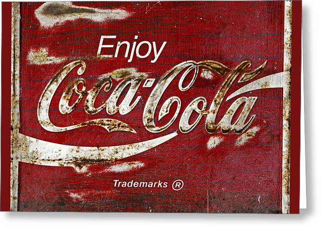 Vintage Coca Cola Sign Greeting Cards - Coca Cola Red Grunge Sign Greeting Card by John Stephens