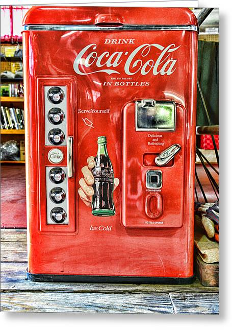 I Drink Greeting Cards - Coca-Cola retro style Greeting Card by Paul Ward